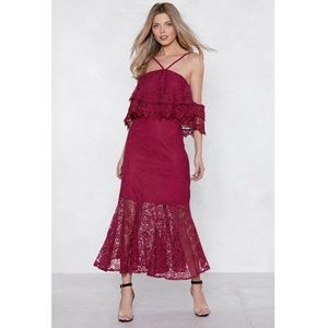 NWT Nasty Gal Cherry Red Maxi Dress Size 8